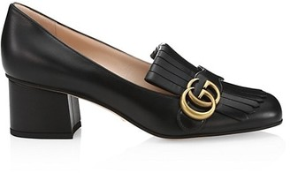 Gucci Marmont Leather Block-Heel Loafers