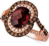 LeVian Le Vian Chocolatier® Raspberry Rhodolite® Garnet (2-1/3 ct. t.w.) and Diamond (3/8 ct. t.w.) Ring in 14k Rose Gold