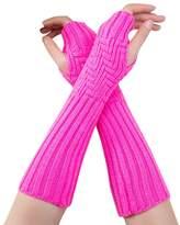 Susenstone Fashion Unisex Semi-Long Gloves Knitted Geometry Design Diagonal Bar Fingerless Winter Gloves Soft Mitten