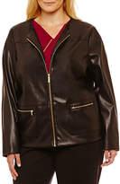 Liz Claiborne Faux Leather Jacket-Plus