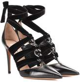 Valentino Leather and velvet pumps