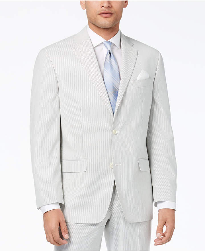 Sean John Closeout! Men's Classic-Fit Stretch Gray Stripe Seersucker Suit Jacket