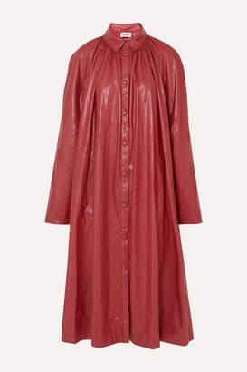 we11done Gathered Faux Leather Midi Dress - Burgundy