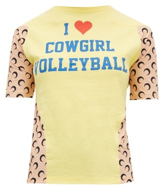 Marine Serre Upcycled Cowgirl Volleyball-print Jersey T-shirt - Womens - Yellow