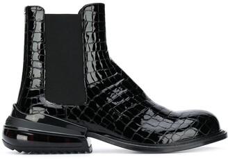 Maison Margiela Crocodile-Effect Leather Boots