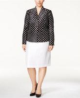 Le Suit Plus Size Polka-Dot Skirt Suit
