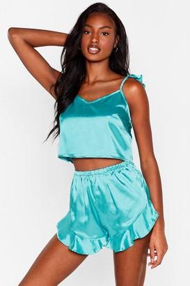 Nasty Gal Womens Cancel All Plans Satin Pyjama Shorts Set - Green - 8, Green