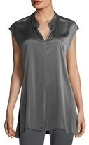 Eileen Fisher Cap-Sleeve Stretch Silk Charmeuse Top, Plus Size