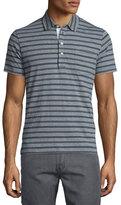 Billy Reid Striped Short-Sleeve Polo Shirt, Blue Pattern