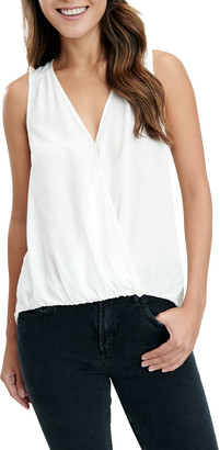 Splendid Rosa Surplice Silk Sleeveless Top