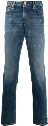Emporio Armani Paint Splatter Skinny-Fit Jeans