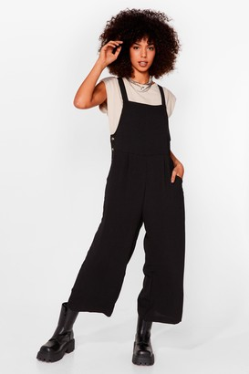 Nasty Gal Womens Winner Dungaree Wide-Leg Dungarees - Black - XS