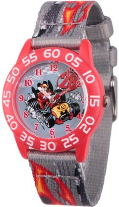 Disney Mickey Mouse Boys' Red Plastic Time Teacher Watch, Grey Printed Fabric Strap