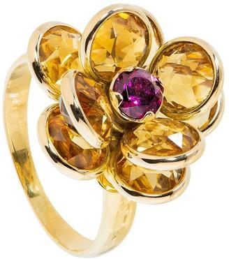 GUITA M 18kt Yellow Gold, Citrine And Rhodolite Flower Ring