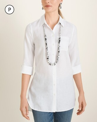 No Iron Petite Linen High-Low Shirttail-Hem Tunic