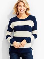 Talbots Lace-Side Block Stripe Sweater