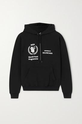 Balenciaga + World Food Programme Printed Cotton-jersey Hoodie - Black