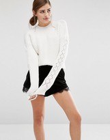 Fashion Union Cropped Knitted Sweater With Textured Sleeves