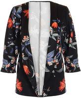 Quiz Black and Orange Floral Print Jacket