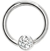 Body Candy Solid 14k White Gold Clear 4mm BezelSet Cubic Zirconia Captive Ring