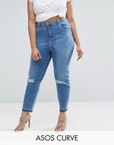 Asos Farleigh Slim Mom Jeans in Hawthorn Busted Knees with Let Down Hem