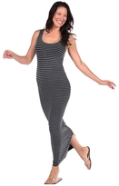 Tees by Tina Micro Stripe Maxi Dress in Heather Grey and Black