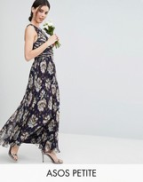 Asos WEDDING Pleated Maxi Dress with Ruched Detail in Vintage Floral Print