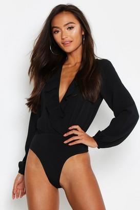 boohoo Petite Frill Edge Woven Long Sleeve Bodysuit