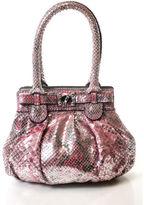 Zagliani Metallic Silver Pink Python Evening Handbag