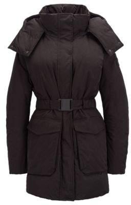 BOSS Water-repellent down coat with detachable hood