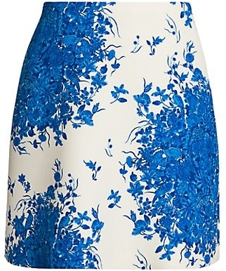 Valentino Wool & Silk Floral Mini Skirt