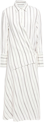 Joseph Wrap-effect Striped Twill Midi Shirt Dress