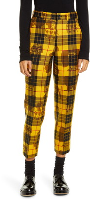 Comme des Garcons Tartan High Waist Crop Wool Trousers