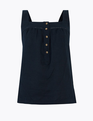 Marks and Spencer Pure Linen Square Neck Camisole Top