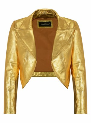 Carrie Ch Hoxton Ladies Shinny Cropped Leather Shrug Slim-fit Short Body Jacket Bolero Style 5650 (10