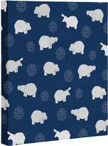"DENY Designs Kangarui Happy Hippo Blue Art Canvas, 16"" x 20"""