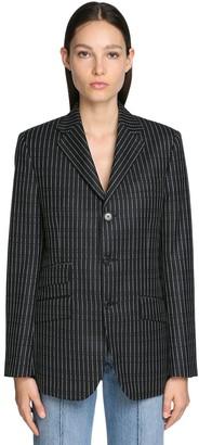 Maison Margiela Logo Pinstripe Wool Twill Blazer