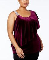 Belldini Plus Size Velvet One-Shoulder Top