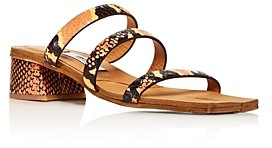 Miista Women's Lynley Snake-Embossed Block-Heel Sandals