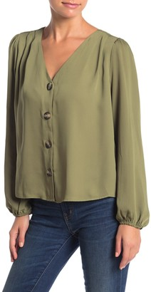 Elodie K Long Sleeve V-Neck Button Blouse