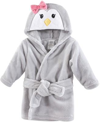 Luvable Friends Girls' Bath Robes Girl - Gray Penguin Plush Hooded Robe - Newborn