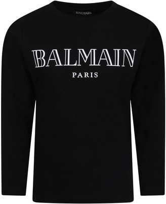 Balmain Black T-shirt For Kids With White Logo