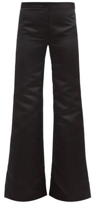 Halpern Flared High-rise Duchess-satin Trousers - Black