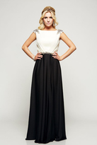 Milano Formals - Beaded Contrast Cap-Sleeved Evening Gown E2096