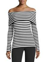 Milly Off-The-Shoulder Rib-Kint Stripe Top