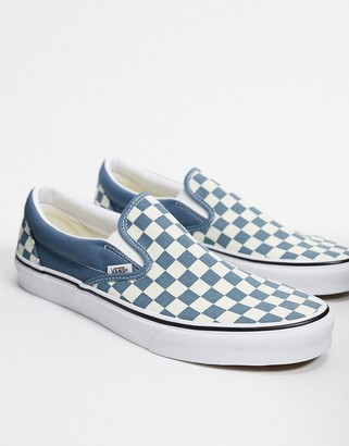 Vans UA Classic slip-on trainers in checkerboard blue mirage/true white