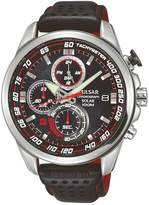 Pulsar Pulsar Men's solar chronograph watch with a stainless steel case and black leather strap featuring a black dial