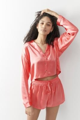 Out From Under Lisa Satin Button-Through Pyjama Top - Pink XS at Urban Outfitters