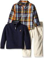 Nautica Baby Three Piece Set with Woven, Quarter Zip Sweater, Flat Front Twill Pants