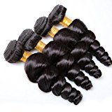 Vinsteen 8A Brazilian Loose Curl Wave 100% Human Hair Weave Double Weft Hair Extensions Unprocessed Hair Wefts Natural Color Can Be Dyed (1pcs 20 inch)
